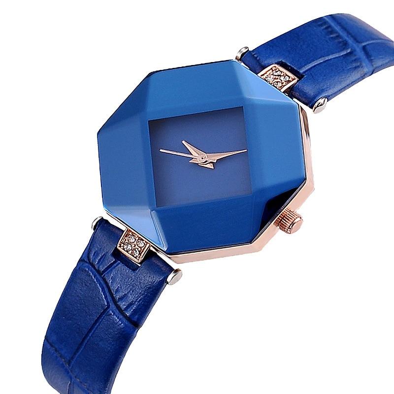 Fashion Women Quartz Watch Big Rhinestone Leather Casual Dress Watches Blue Black Saat Lady Clock Relogio Feminino Montre Femme