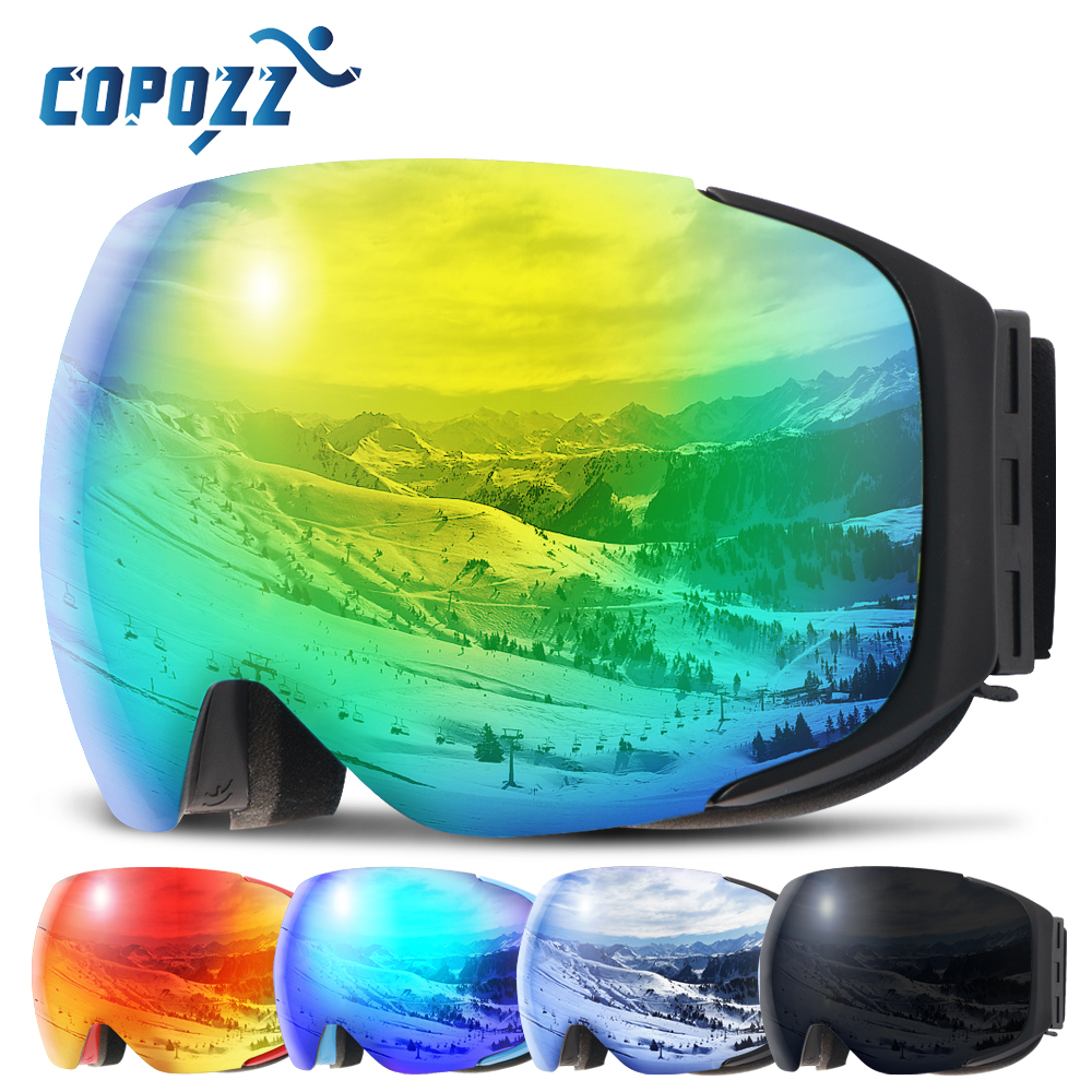 מגנטי סקי משקפי חדש COPOZZ מותג כפול שכבות UV400 אנטי ערפל גדול סקי מסכת משקפיים סקי גברים נשים שלג סנובורד משקפי