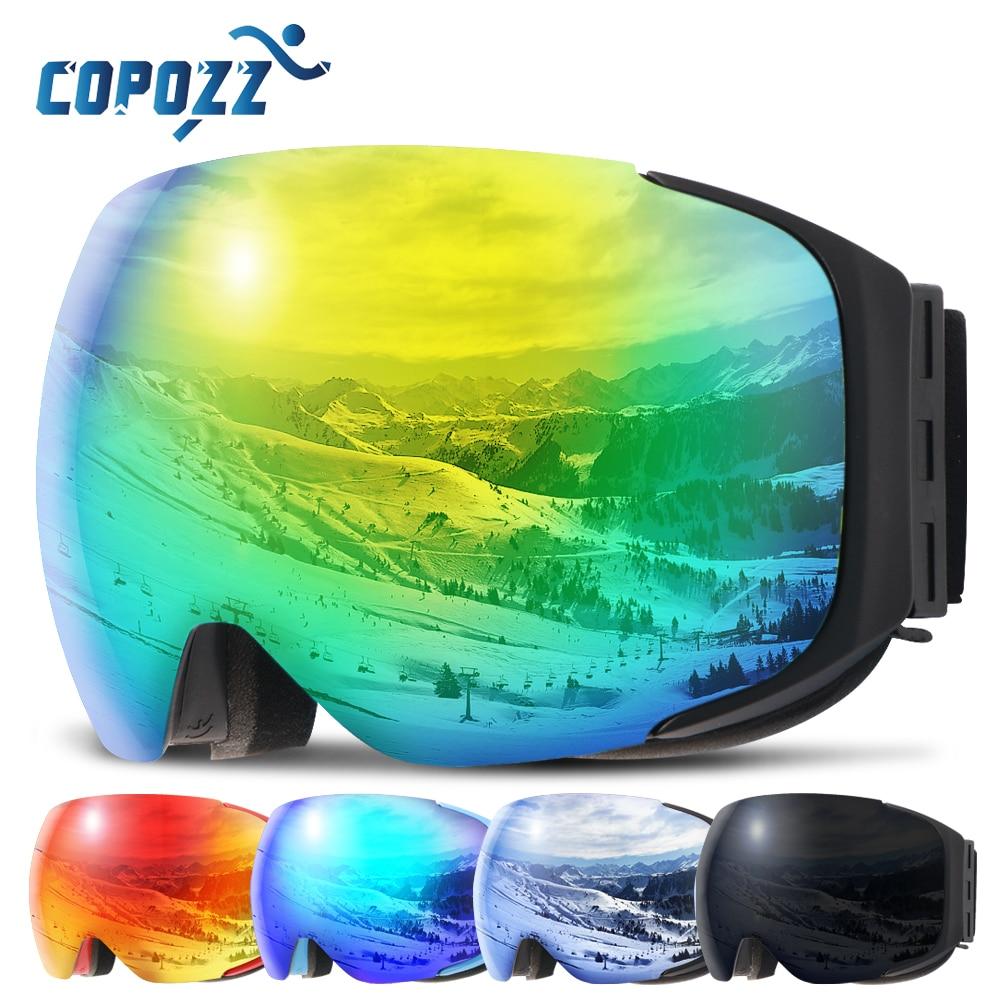 Magnetic Ski Goggles New COPOZZ Brand Double Layers UV400 Anti-fog Big Ski Mask Glasses Skiing Men Women Snow Snowboard Goggles