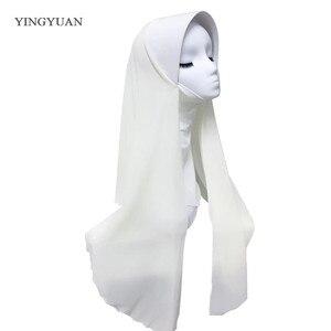 Image 2 - TJ71 新シフォン簡単イスラム教徒 Hijabs スカーフファッションスカーフボイル Musulman 固体ボンネットヒジャーブ