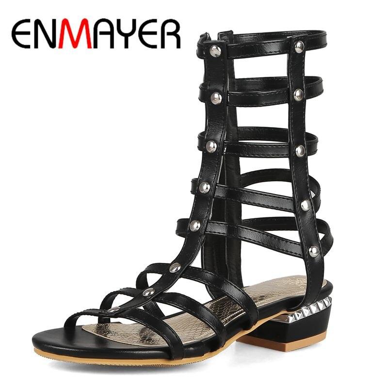ENMAYER PU Gladiator Shoes Women Women Sandals Summer 2019 Fashion Flat Casual Zip Summer Shoes Size