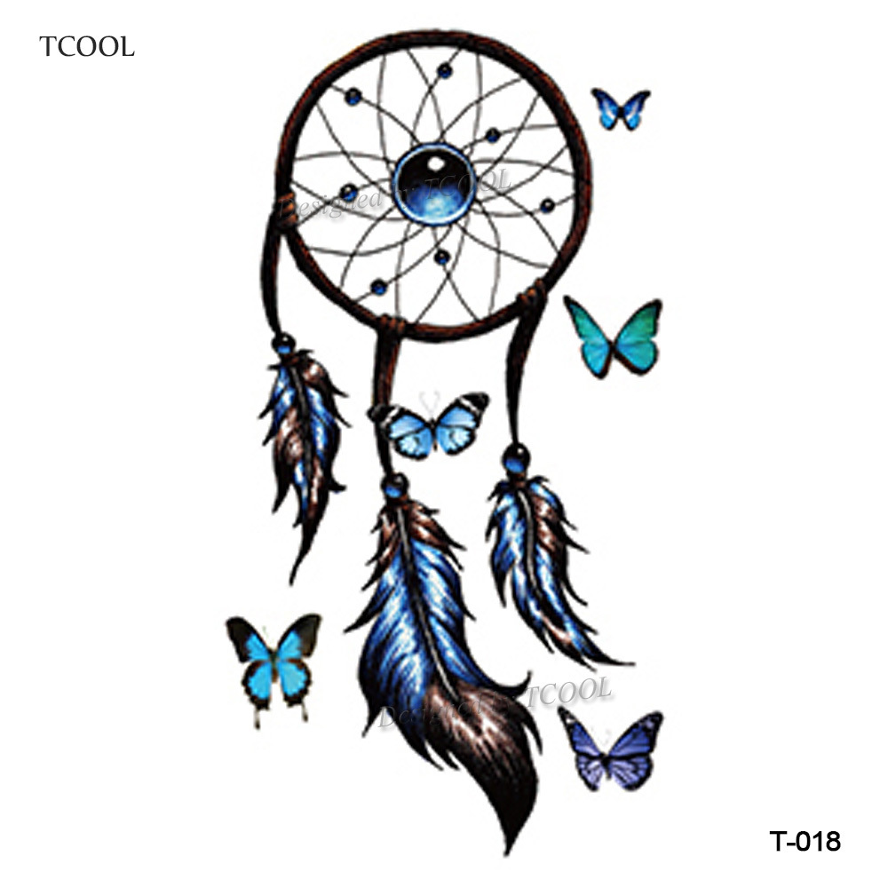 HXMAN Dreamcatcher Temporary Tattoos Waterproof Women Fashion Fake Body Art Arm Tattoo Sticker 10.5X6cm Hand Tatoo Paper T-018