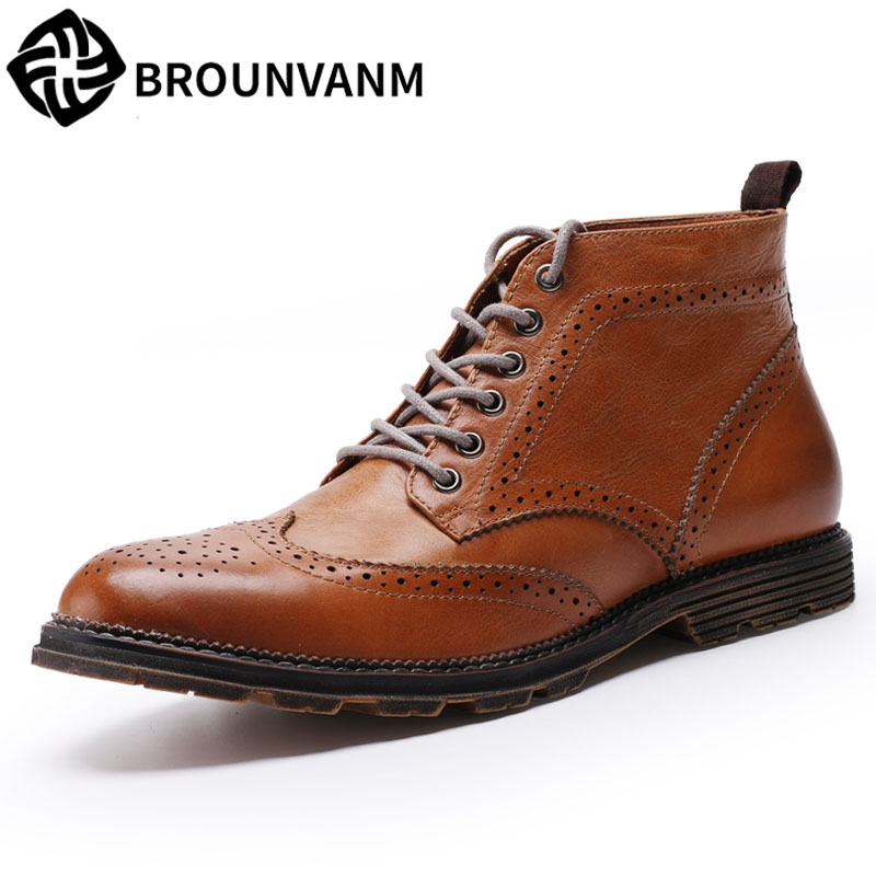 Martin Bullock British male boots high boots for ankle boots men Leather boots shoes autumn and winter