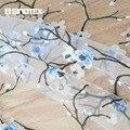 Оконная занавеска с синим цветком сливы для дома  гостиной  прозрачная вуаль  1 шт./лот