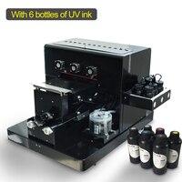 A4 Kleine größe UV Drucker LED mit relief wirkung Uv-flachbettdrucker für Telefon Fall  T-shirt  TPU  holz mit 6 farbe 500 ml UV Tinte