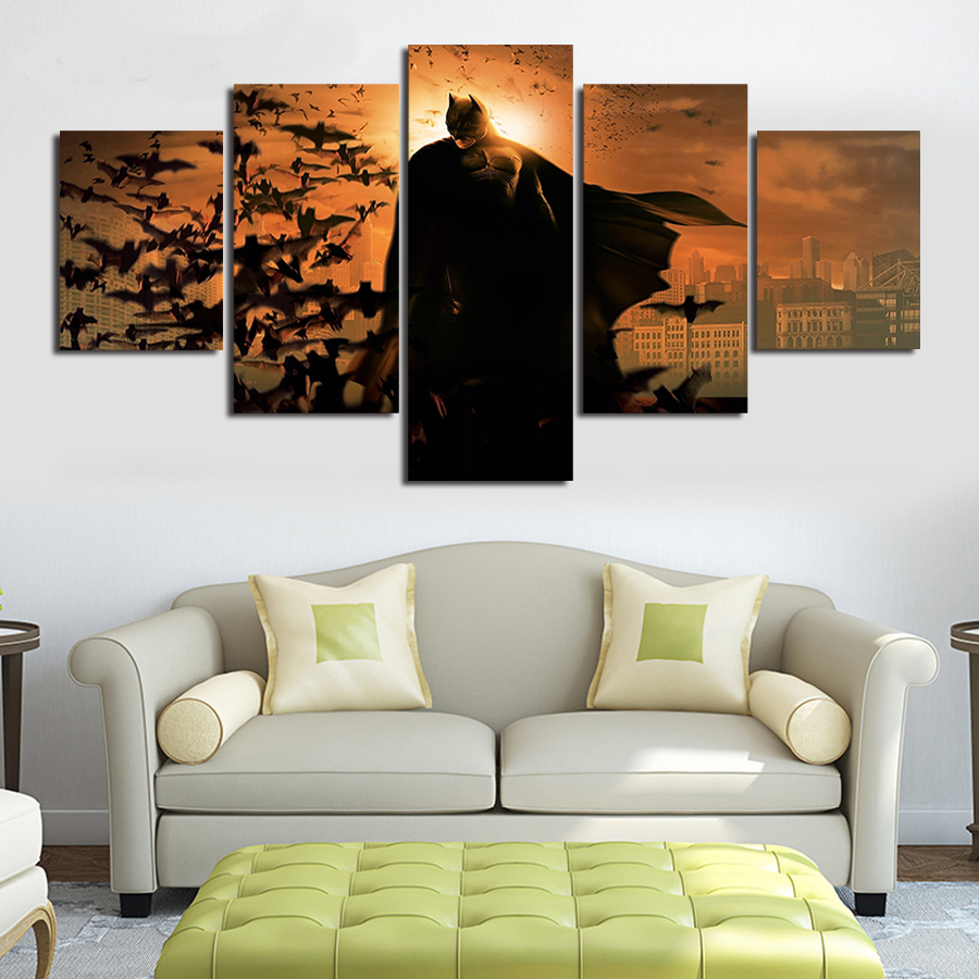 Canvas wall art movie poster the batman 5 panel unframed canvas prints large living room for Large wall posters for living room