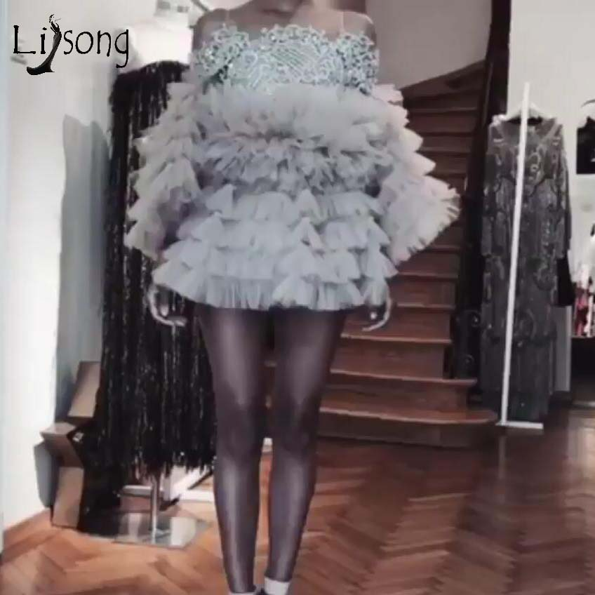 2019 New Trendy Ruffles Short Cocktail Dresses Puffy Full Sleeves Lace Mini Homecoming Dresses Off The Shoulder Party Dress