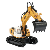 9CH Simulation RC Excavator toys with Music and light Children's Boys RC truck toys gifts RC Engineering Car Tractor Brinquedos