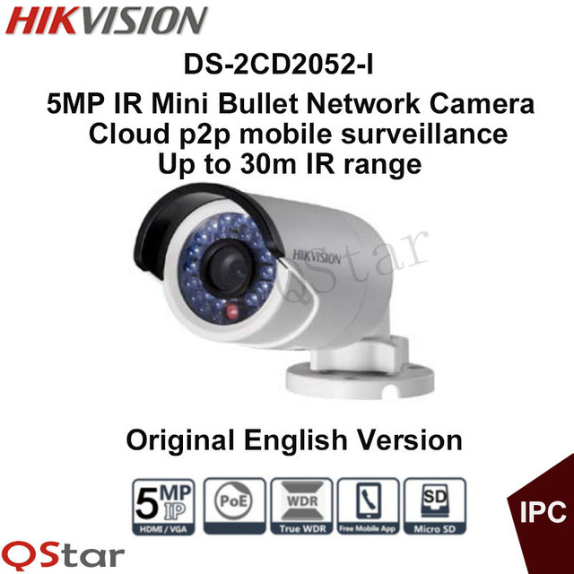 Hikvision Original English Version DS-2CD2052-I Surveillance CCTV Camera 5MP WDR Network Bullet IP Camera IP66 CCTV Camera