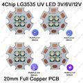 7 V/14 V Epileds 3535 4 Fichas de 4 LEDs 12 W LED de Alta Potência emissor UV/420nm 380nm 365nm 395nm Ultravioleta com 20mm de Cobre PCB