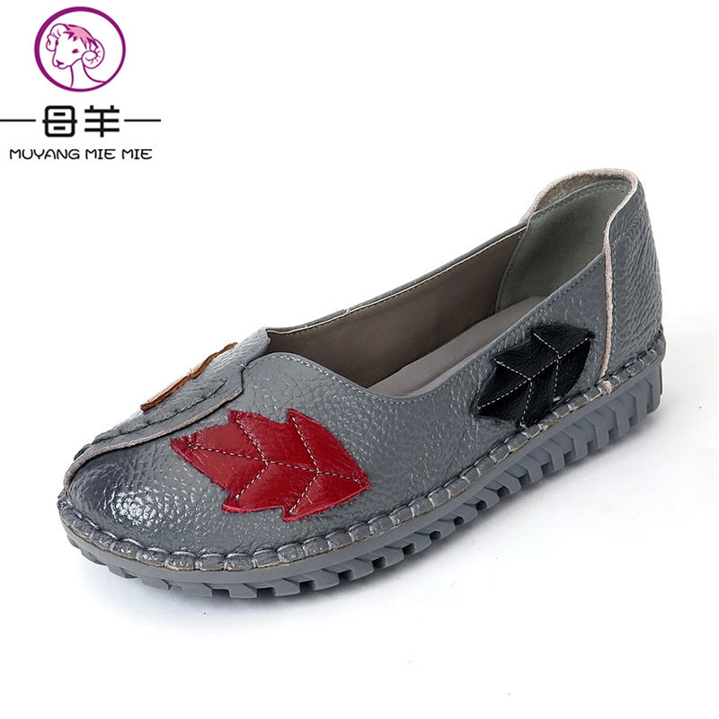 MUYANG MIE MIE Women Flats Spring And Autumn Fashion Genuine Leather Flat Shoes Woman Soft Outsole Casual Loafers Women Shoes парогенератор mie bravissimo напольная вешалка mie a