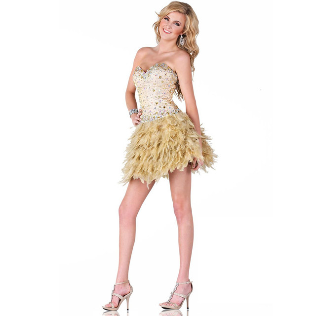 Luxury Feathers Cocktail Dresses 2016 A Line Sweetheart Beaded Crystals Short Party Gowns Homecoming Lace Up Vestidos de coctel