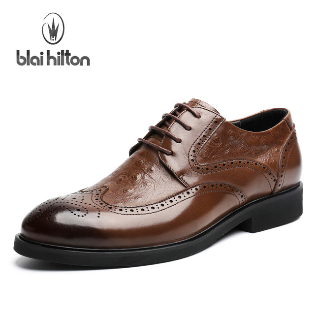 Man Confortevole Leather Business Oxfords Lace Up Shoes