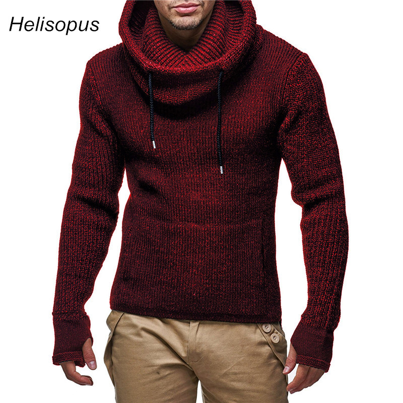 Men Biker Turtleneck Sweaters With Gloves 2020 Spring Autumn Slim Knitted Warm Pullover Sweaters