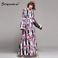 2018 Spring Black White Striped Floral Print V Neck Long Loose Robe Dress Casual Runway Design