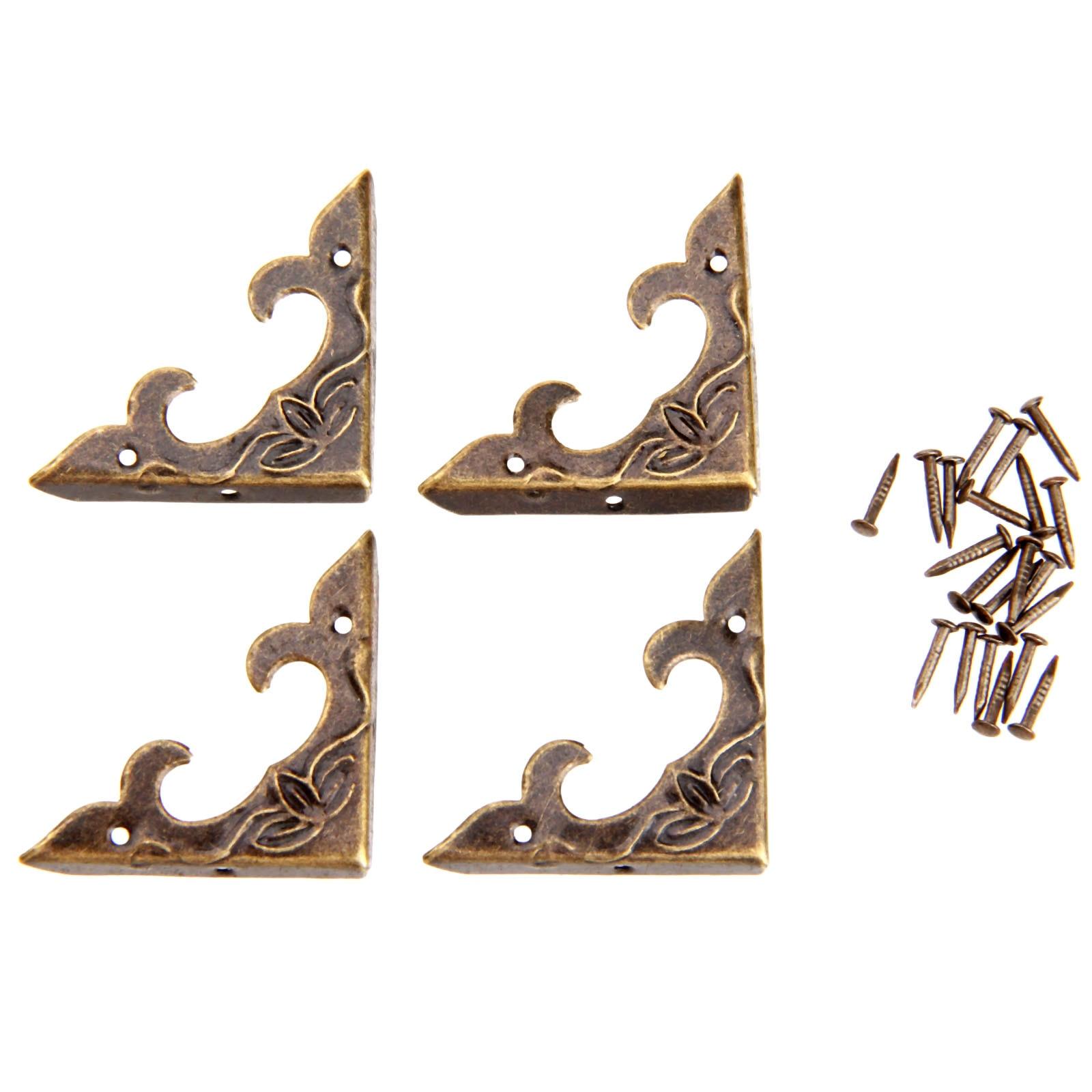 20Pc Antique Brass Furniture Corner Brackets Jewelry Gift Box Wood Case Decorative Feet Leg Metal Corner Protector For Furniture