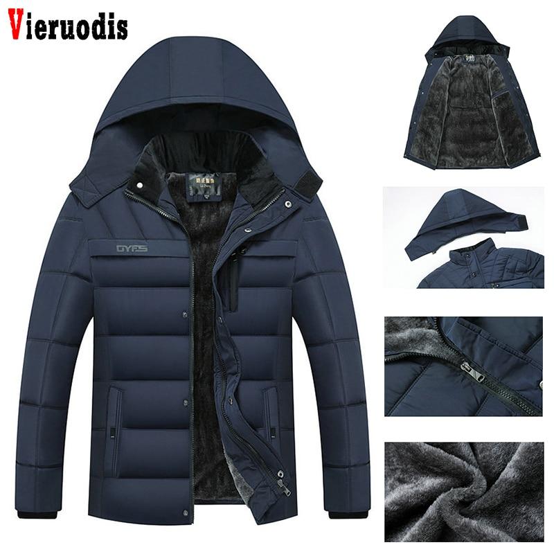 Men Thicken Warm Jacket Men Parkas Hooded Coat Zipper Overcoat Male Hat Detachable Outwear Man's 2019 Winter Fleece Jackets