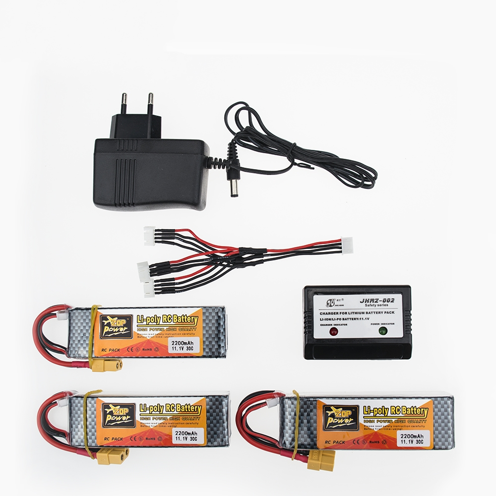 ZOP Power 2200mAh 11.1V 30C T Plug Lithium Battery for RC Quadcopter Spare Part for Helicopter 3PCS and charger set h22 007 receiver board spare part for h22 rc quadcopter