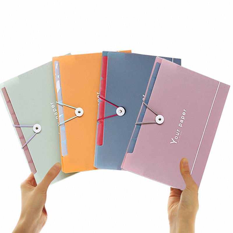 4 Pack Expanding File Folder Pockets --5 Pockets,A4 Letter Size,Assorted Color Accordion Document Organizer,Flap And Cord Clos