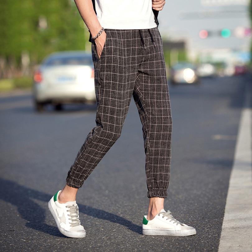 Comfortable Nice Casual Plaid Ankle-Length Pants Men Trousers Hip Hop Jogger Pants Men Sweatpants Japanese Streetwear Men Pants