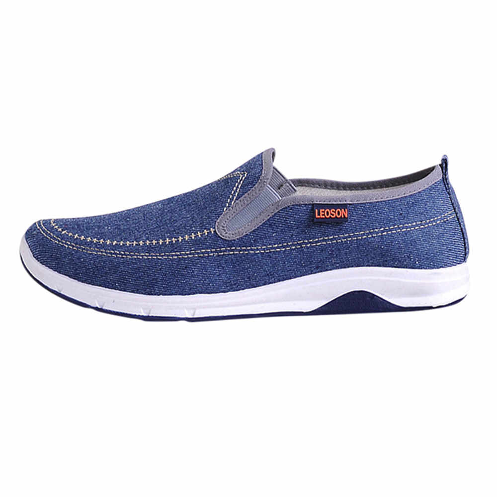Fashion Mannen Jongens Casual Sneakers Sport Denim Ademend Platte Solid Slip-On Schoenen Hot Koop #09