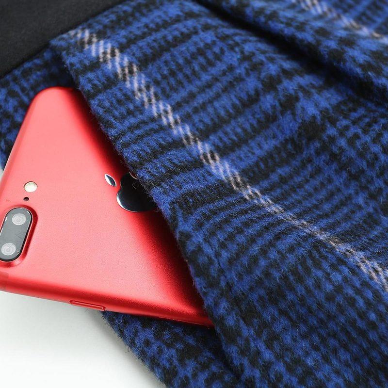 Breasted Jambe Large Longue De Tranchée Épais Manteau Couture Droite Costume Pantalon Plaid Chaud Ciel Hiver Trening Ensemble Double Haute Pu Femmes Laine 4ZFPxX