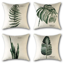Tropical Plant Rain Forest Fern Monstera Wedding Gift Linen Cushion Cover Pillow Cover Home Car Sofa Decorative Pillow Case(China)