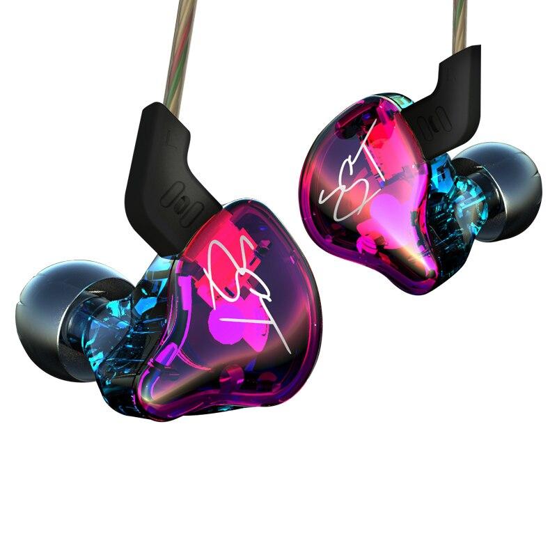 AK Original KZ ZST colorido BA + DD en la oreja auriculares híbridos auriculares HIFI graves Cancelación de ruido auriculares con micrófono Cable reemplazado ZSN