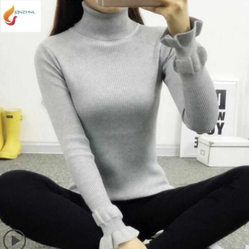 Осенне-зимние короткие свитер Женщины пуловер в виде листка лотоса рукавом вязать тонкий свитер был тонкий сплошной цвет sweaterG364