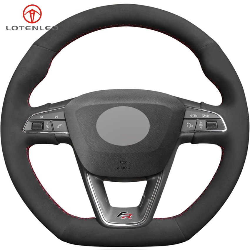 LQTENLEO Black Suede DIY Car Steering Wheel Cover For Seat Leon Cupra R Leon ST Cupra