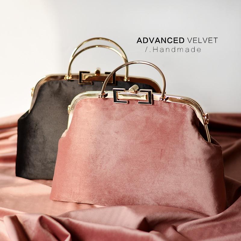 Professionnalisation BRICOLAGE À La Main Artisanat Matériel Paquet Pour Velours De Mode Femmes Sac À Main 35X23X8.5 cm Métal Cadre Sacs cadeau pour Ami
