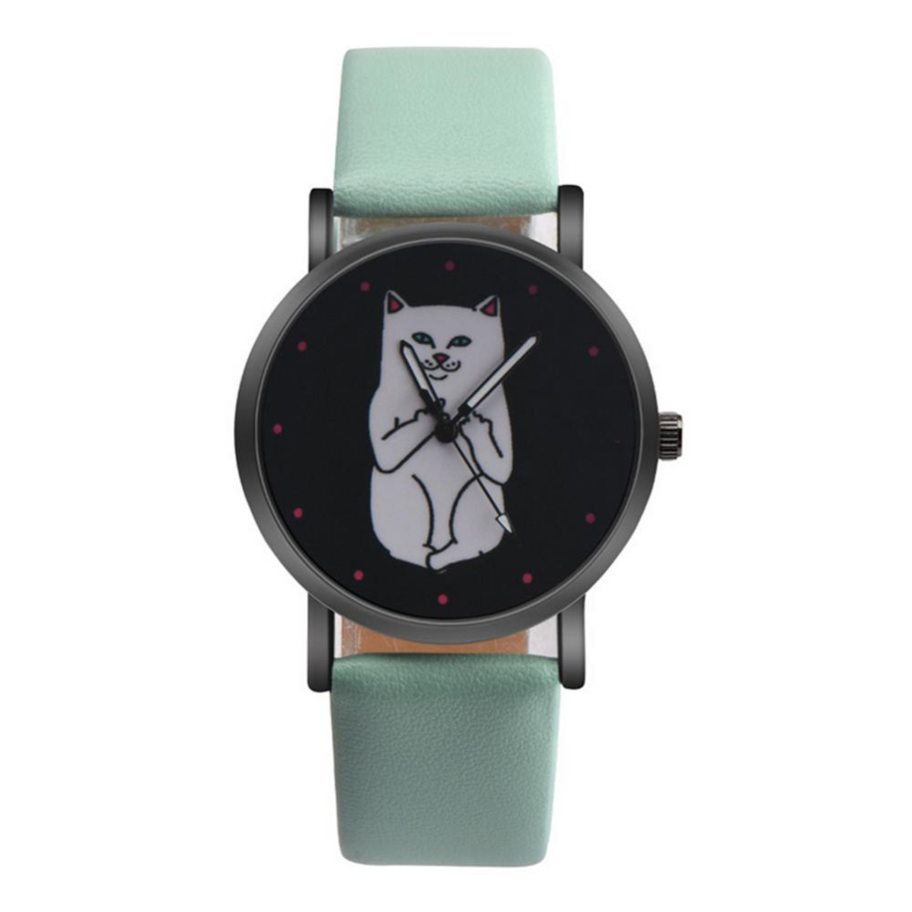 Causal Quartz Watch Hot Sale New Fashion Dress Women Funny Cute Kids Middle Finger Cat Wristwatch Hour Lady Child Girl Gift 5pack 10pcs hot sale new cute silicone finger pointing bookmark book mark office supply funny gift