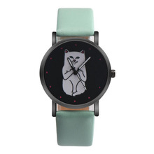 Causal Quartz Watch Hot Sale New Fashion Dress Women Funny Cute Kids Middle Finger Cat Wristwatch Hour Lady Child Girl Gift
