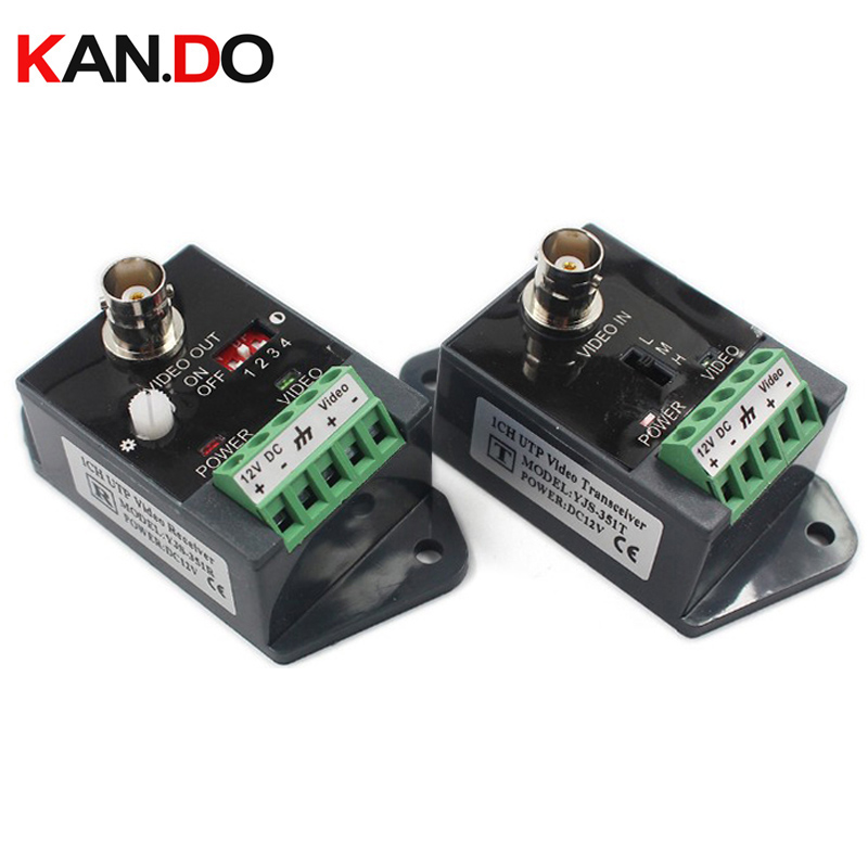 1 pair Long distance 1 channel Active Video Balun Video Transceiver for CCTV AHD CVI TVI CVBS Single Channel CCTV Transmitter single channel passive video balun grey silver 2 pcs