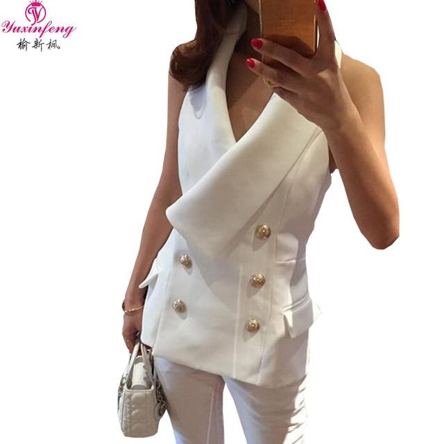 2dd1ac1b12 Yuxinfeng Primavera Outono Moda Vest Mulheres de Slim Double Breasted Botão  Halter Senhoras Casaco Sem Mangas Colete Escritório Branco