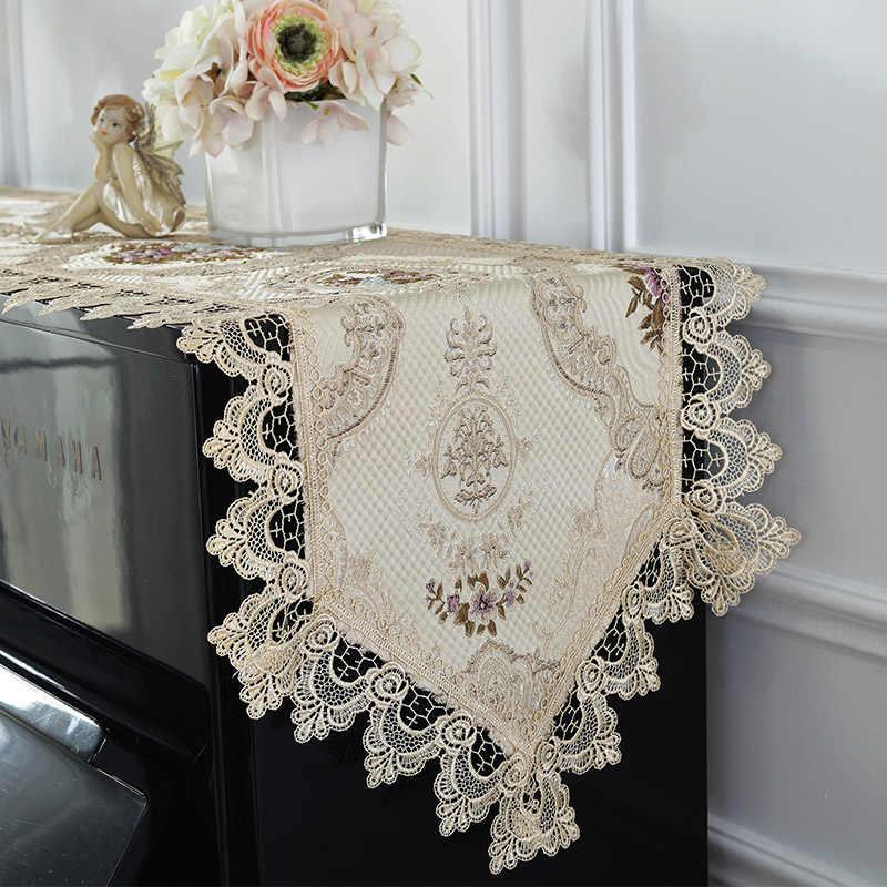 Высокая роза кружева настольная дорожка салфетка для фортепиано Обложка Ткань вышитая скатерть для фортепиано, от пыли покрытие Свадебные украшения