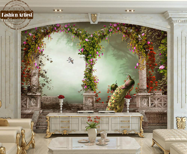 Custom 3d Vintage Wallpaper Mural Roman Pillar Arch Garden Peacock Floral Scenery Tv Sofa Bedroom Living