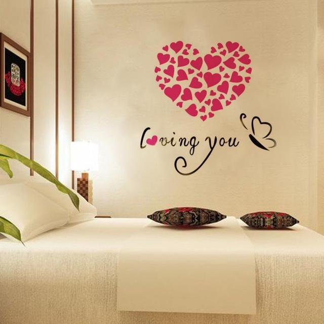Lovely Heart Shaped 3D Acrylic Wall Stickers Home Decor Bedroom DIY ...