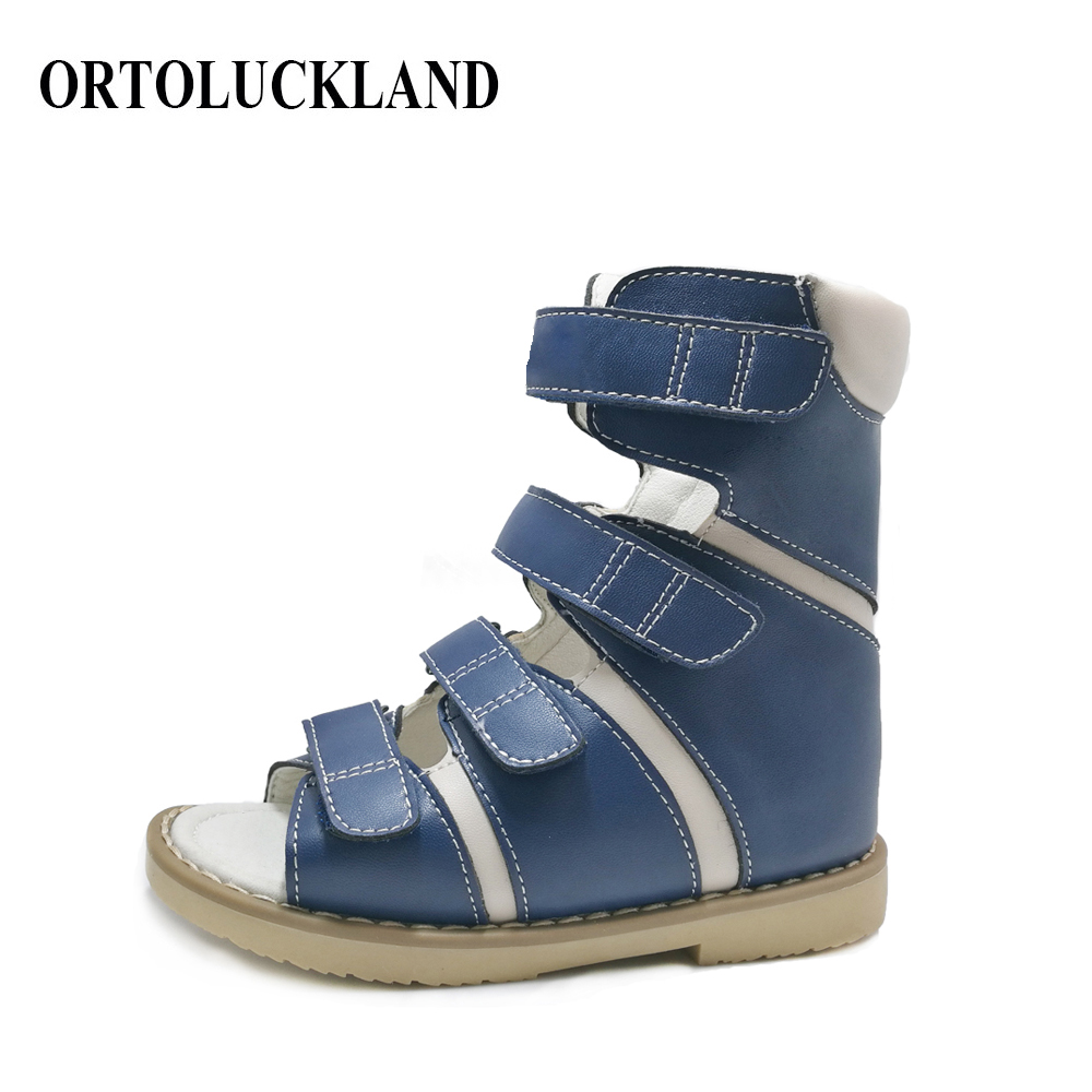 Latest 16cm dark blue high cut children summer orthopedic shoes microfiber leather boy corrective sandals with ankle support