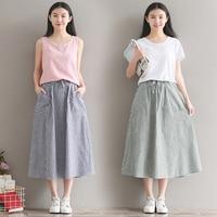 2017 New Summer Women Stripe Skirts Casual Cotton And Linen Female Long Skirts Vintage Elegant Midi