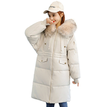 Winter Jacket Women Parkas Mujer 2019 New Fashion Long Women Coat Hooded Fur Collar Cotton Padded Outerwear Female Plus Size 3XL цена в Москве и Питере