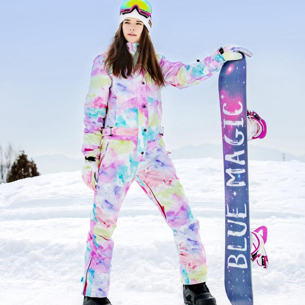blue magic waterproof snowboarding one piece skiing jumpsuit women snowboard 30 degrees snow ski suit Winter