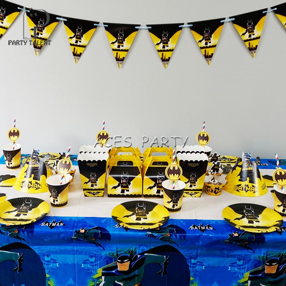 110Pcs for 12kids Super Hero Batman theme birthday party supplie tableware set plate straw glass candybox