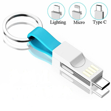 цена на Multi-Function 3 in 1 USB Cable For iPhone/Type C/Micro USB Charging Cable Key Chain Portable Charging Sync Data Cord Charger