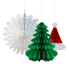 3pc Retro Christmas Paper Honeycomb Decorations (Santa Hat,Snowflake Fan, Tree) Celebrations & Occasions