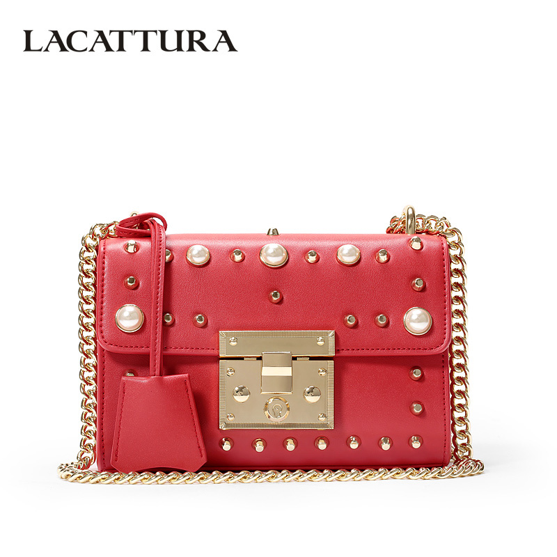 LACATTURA Women Shoulder Bag Luxury Grils Clutch Rivet Summer Messenger Bags Chain Leather Handbag Lady Flap Crossbody Small Bag giaevvi women leather handbag small flap clutch genuine leather shoulder bag diamond lattice for grils chain crossbody bags