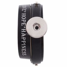 Love Hope Happiness DIY Double Layer 18mm Metallic ginger Snap Button Bracelet Watches Girls leather-based bracelets KC0229