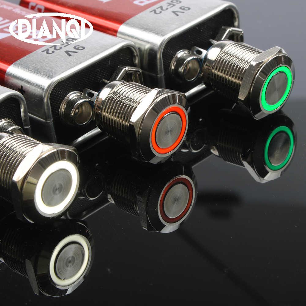 12mm LED מתכת פליז לדחוף כפתור מתג טבעת תאורה בתוך התנגדות אדום צהוב כחול לבן ירוק 220V 12V 24V