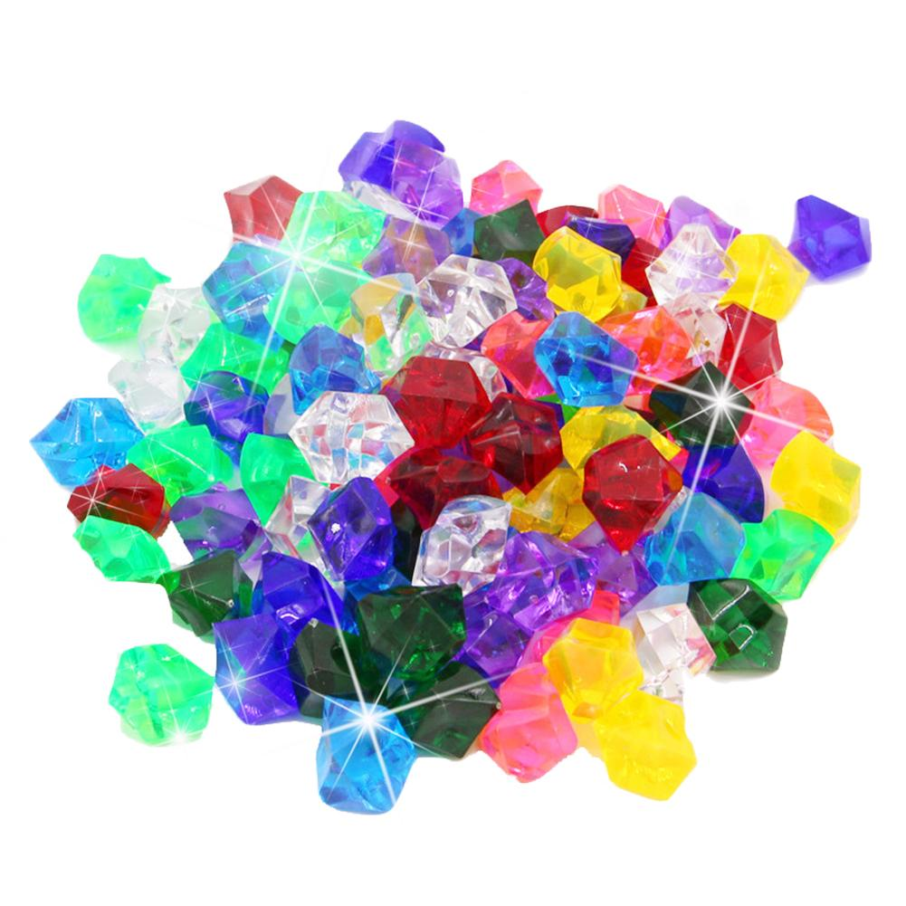 400PCS Plastic Gems Ice Grains Colorful Small Stones Children Jewels Acrylic Gems Jewels Pirate Treasure Chest Hunt Party Favors