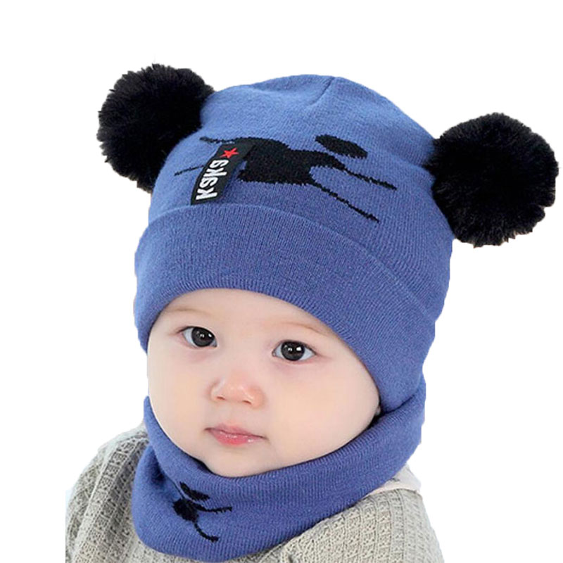 Baby Beanies With Pompom Winter Hat And Scarf Set For Childre Kids Circulal Knit Scarves 2 Pcs Suit 2018 Child Warm Accessories